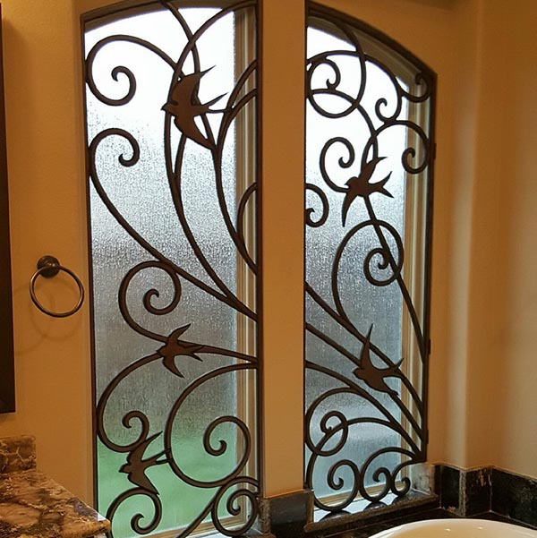 bathroom custom faux iron window