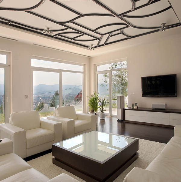 faux iron ceiling living room